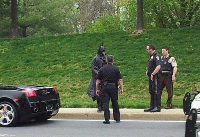 Batman got pulled over by cops in Silver Spring, MD! True story! Awesome!!