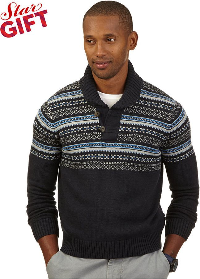 Nautica Fair Isle Shawl Collar Sweater | Rugged Rascal - The ...
