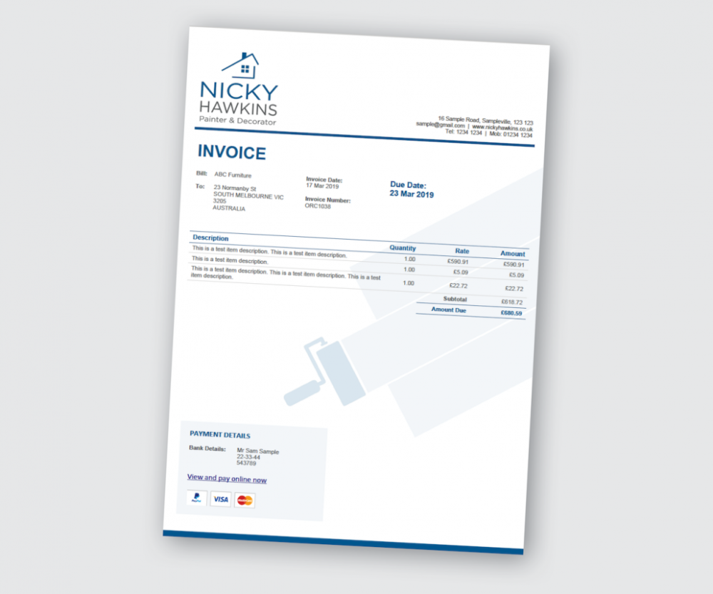 Xero Invoice Customised For Painting Decorating Business Invoice Template Template Design Invoice Layout