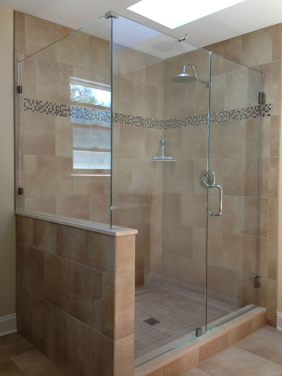 Do We Put A Half Wall Showerman Frameless Shower Door Small Bathroom Makeover Frameless Shower Doors Half Wall Shower