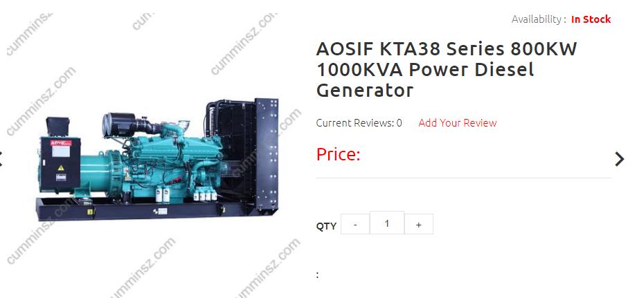 Aosif Kta38 Series 800kw 1000kva Power Diesel Generator Diesel Generators Generation Diesel