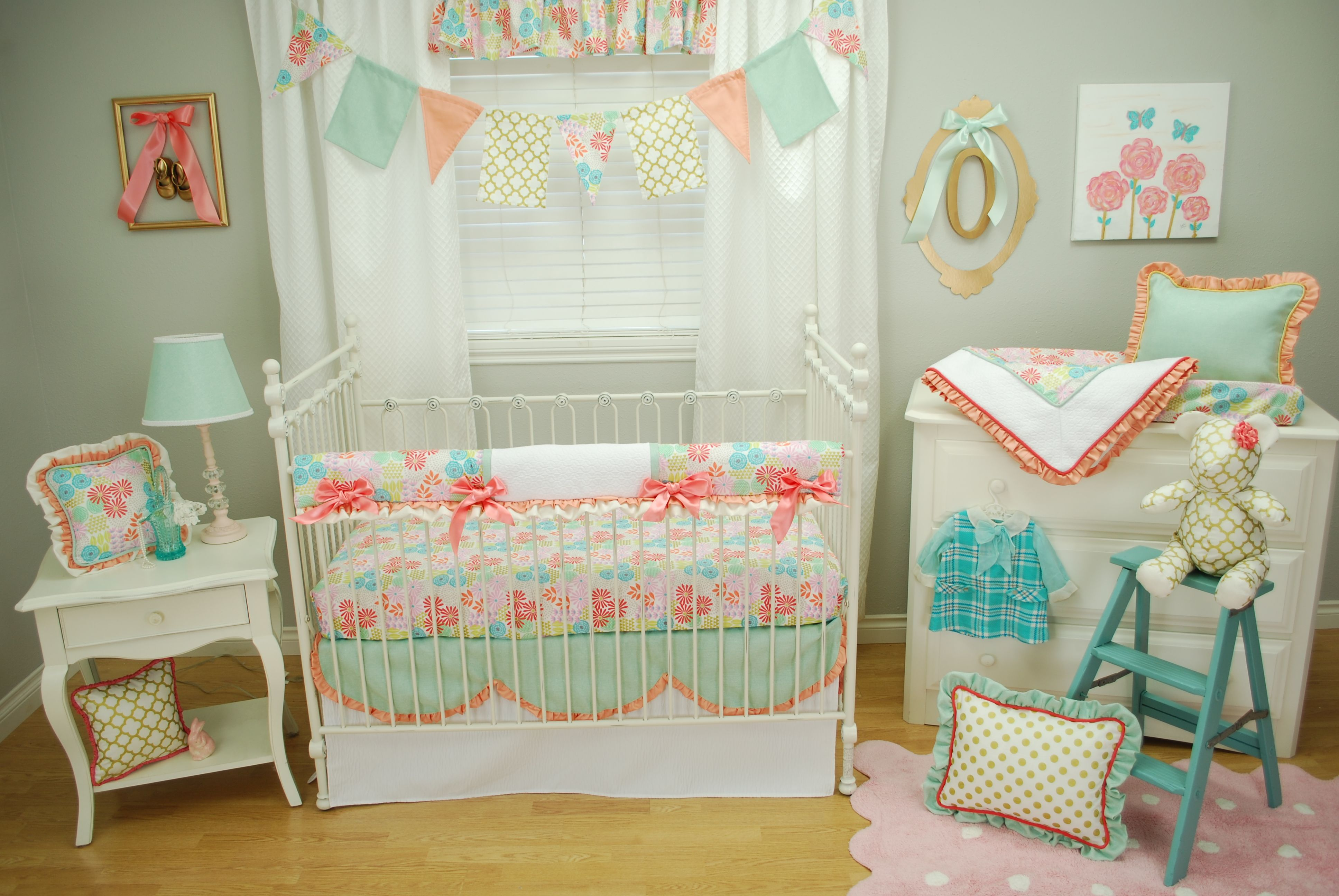 Coral Aqua Mint and Gold floral crib bedding with scallops and