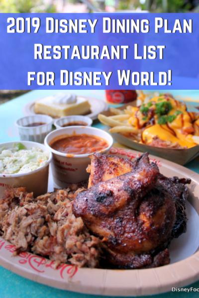 2019 Disney Dining Plan Restaurant List For Disney World Disney