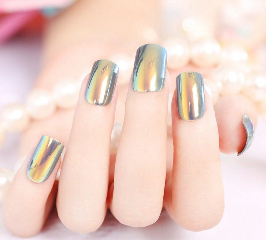 Metal mirror Fake Nails Decorated Art artificial nails purple false nail faux ongles presse sexy for party fashion choice