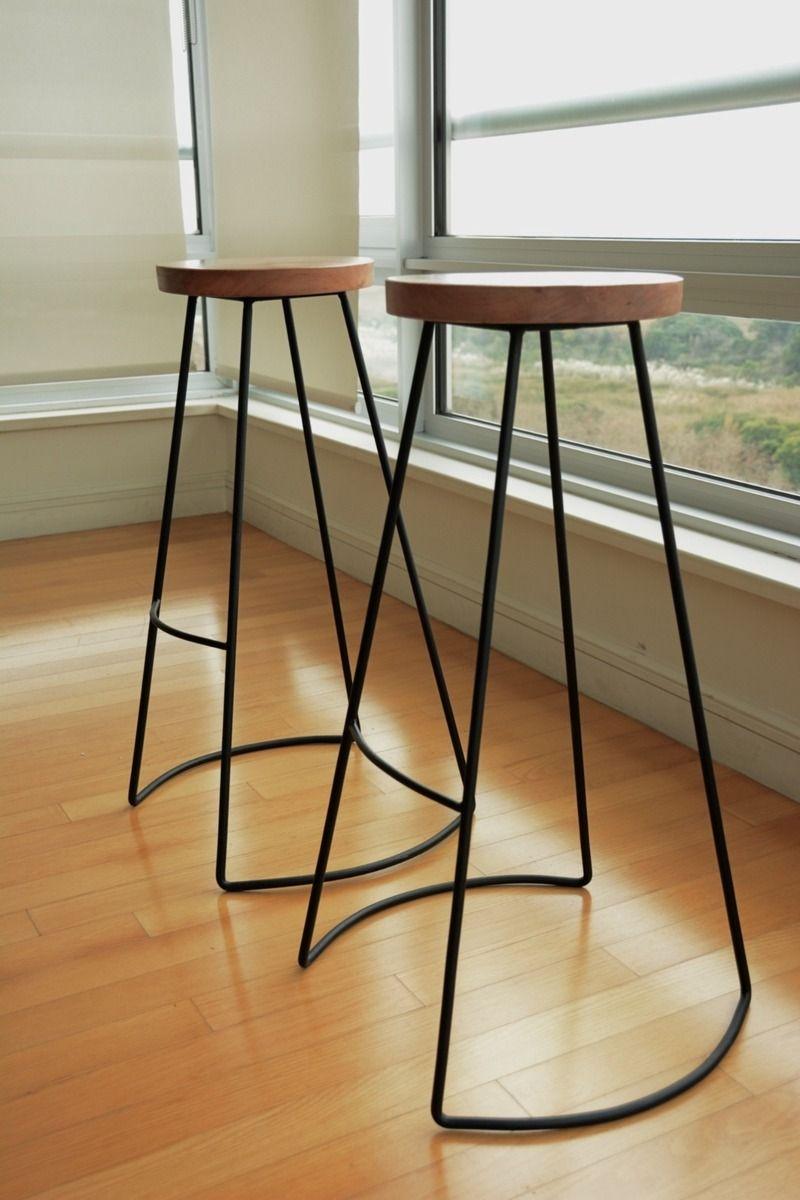 Banquetas de madera y hierro buscar con google muebles exterior o interior pinterest - Banqueta de madera ...