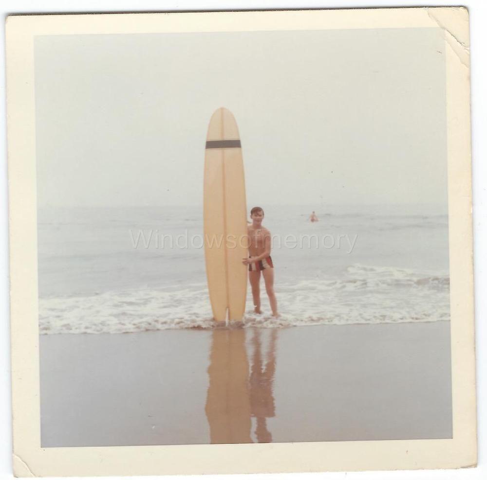 1960s Vintage Photo Man in Bathing Suit Holding Surfboard in Santa Barbara CA