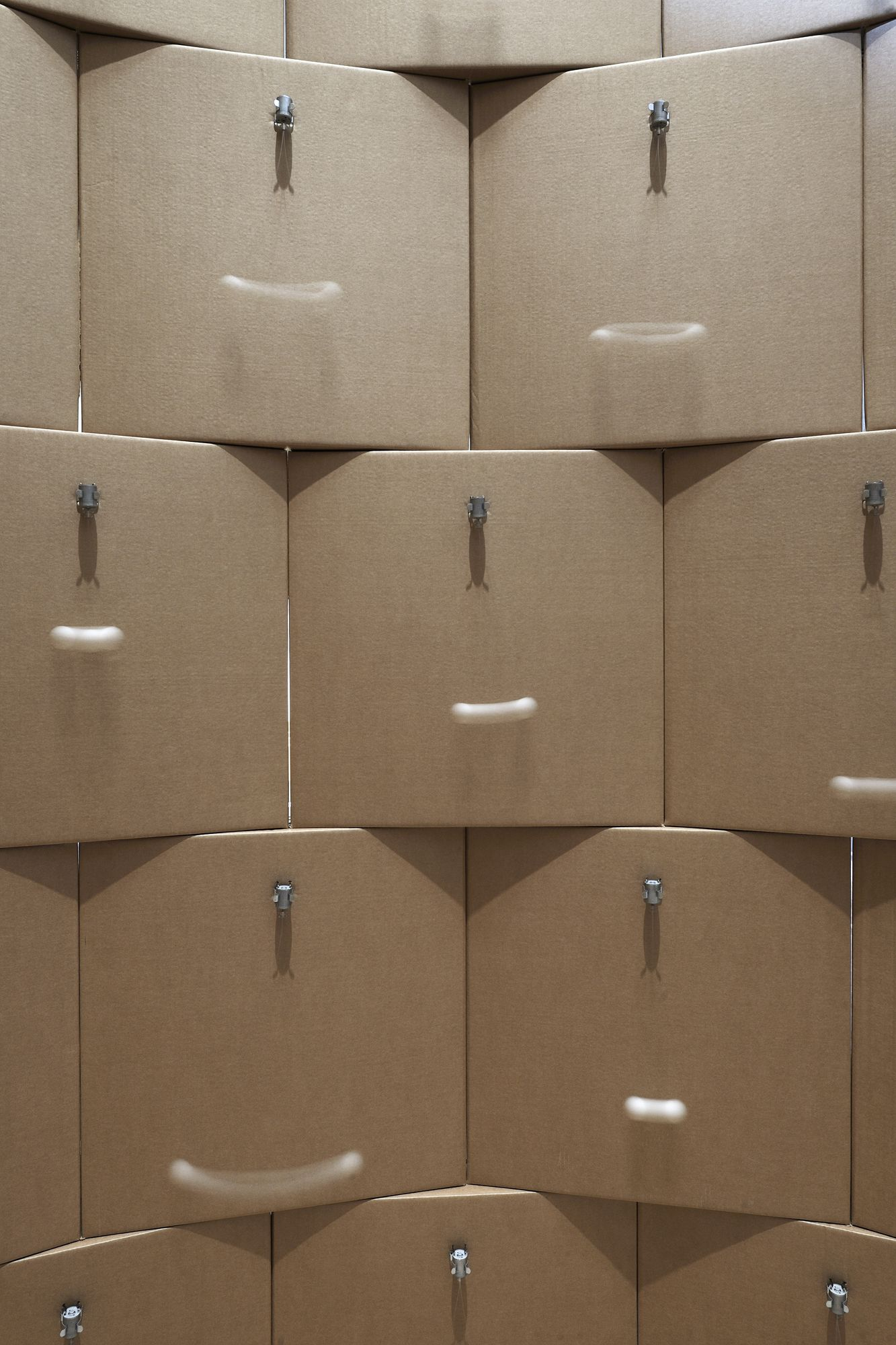 149 prepared dc-motors, cotton balls, cardboard boxes 60x60x60cm. Credits Paolo Terzi.