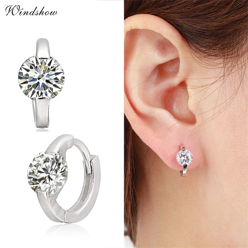 9247031d3544e Cute 925 Sterling Silver Round Crystal Circle Small Loop Huggies ...