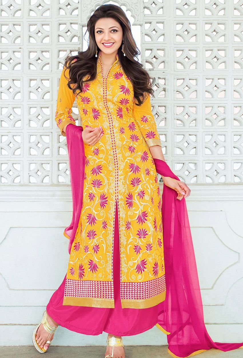 Cute Kajal Agarwal In Yellow Suit Latest Salwar Suit Designs Embroidered Dress Buy Dress