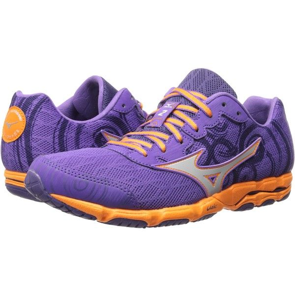 Mizuno Wave Hitogami 2 (Deep Lavender/Silver/Orange Popsicle) Women's...  (225 BRL) ❤ liked on Polyvore featuring shoes, athletic shoes, purple,  orange ...