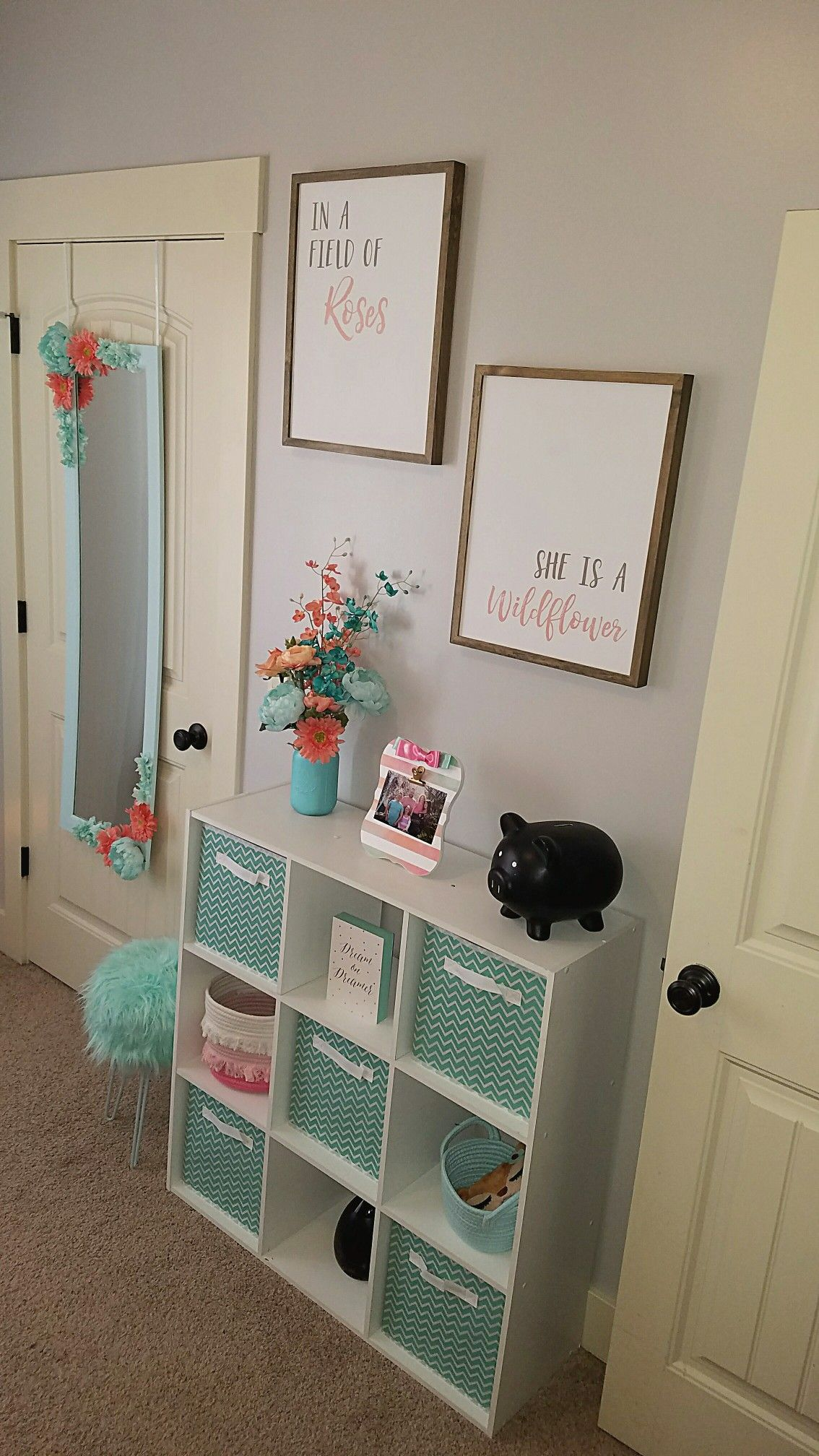 Aqua and coral room is part of Baby girl room -