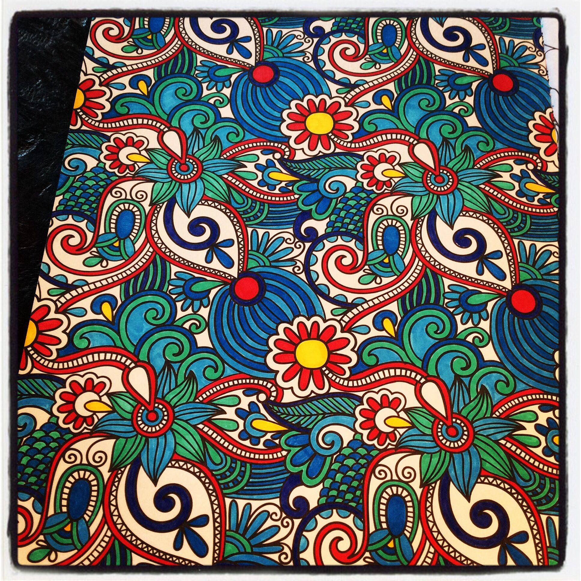 Kleurboek Voor Volwassenen Slechts 6 Kleuren Gebruikt Mandala Coloring Coloring Books Cartoon Drawings