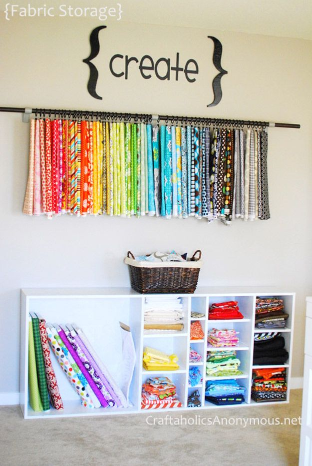50 clever craft room organization ideas fabric organizer for Craft paper storage ideas