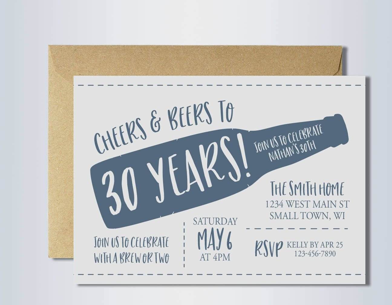 30th birthday invitation | cheers and beers | cheers to 30 years ...