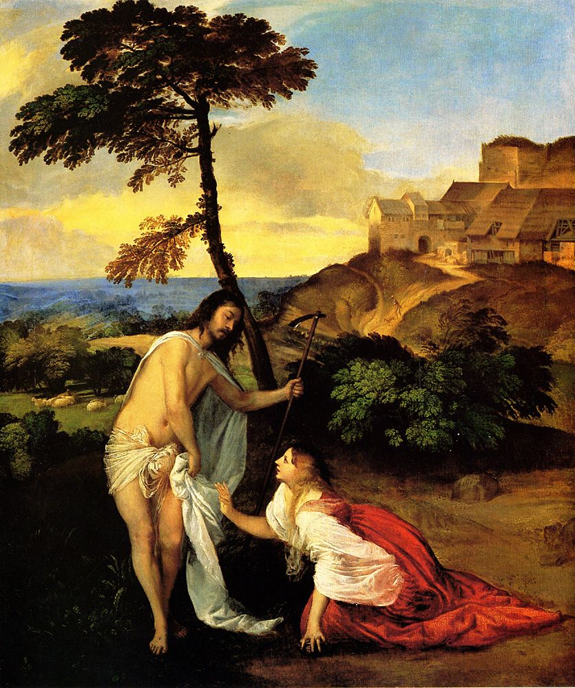 Noli Me Tangere, Titian   Love the landscape and the colours. Mary Magdalene recognises the risen Christ.