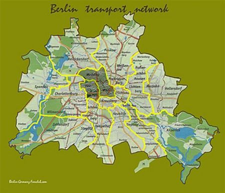 Small Printable Map of Berlin, Germany , click to view a