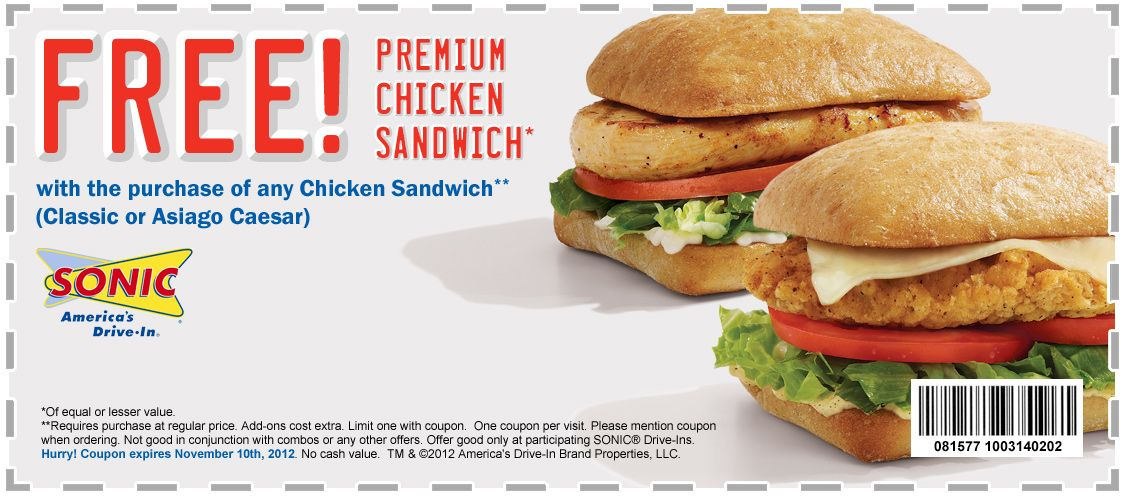 image regarding Sonic Printable Coupon titled Sonic!! Coupon for Purchase 1 receive just one absolutely free chook sandwichs