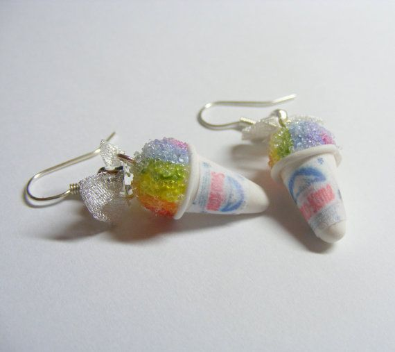 Sno Kone Rainbow Miniature Food Earrings Miniature by NeatEats I don't understand how she does this but she makes tons of jewelry to look like miniature foods. You need to check this stuff out!