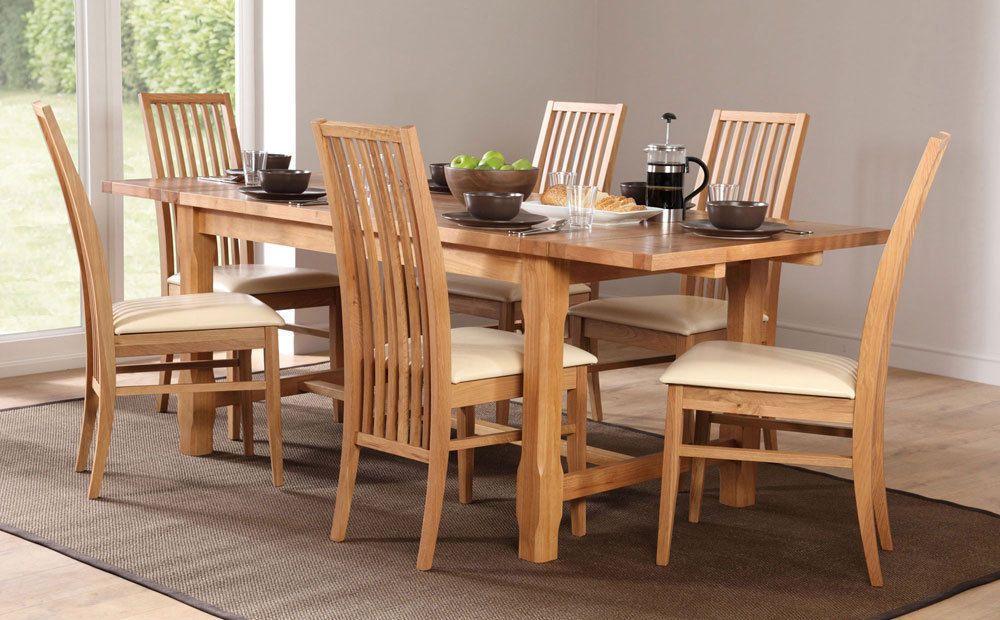 Farmhouse newark extending oak dining table and 4 6