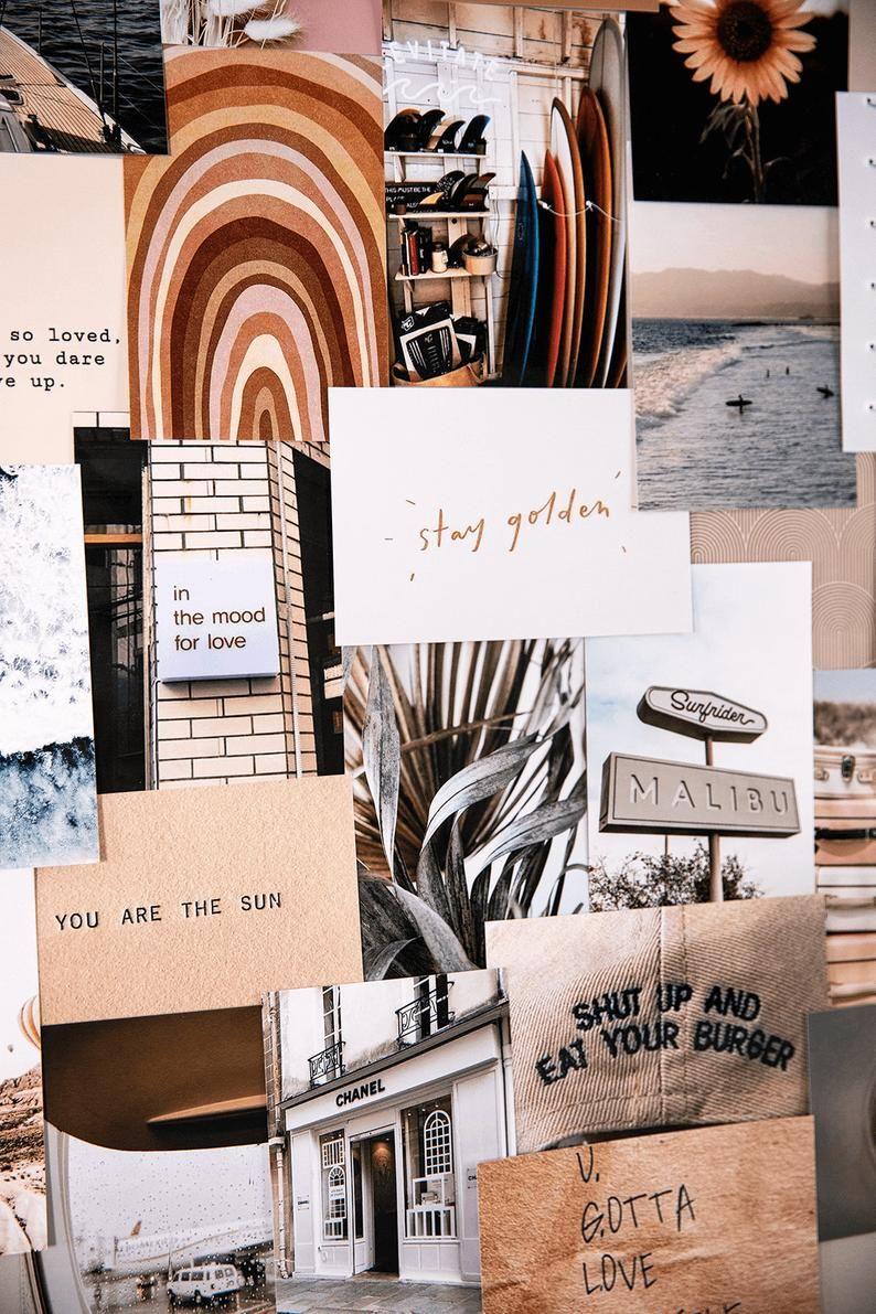 Creamy| neutral collage kit | wall decor, boho aesthetic | tan aesthetic print kit