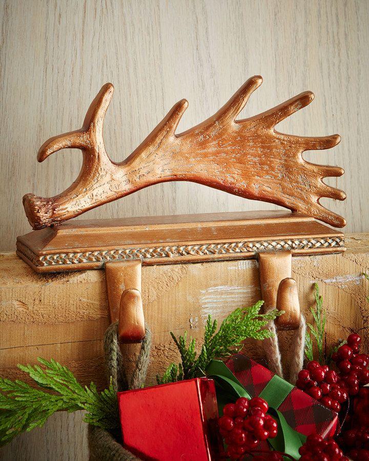 Winter Fantasy Christmas Stocking Hook #winter #christmas #stockinghanger #hook #deer #antlers #moose