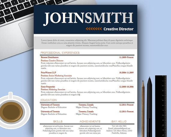Resume Template word + Cover Letter by UrbanDsigns resume template - dancer resume template