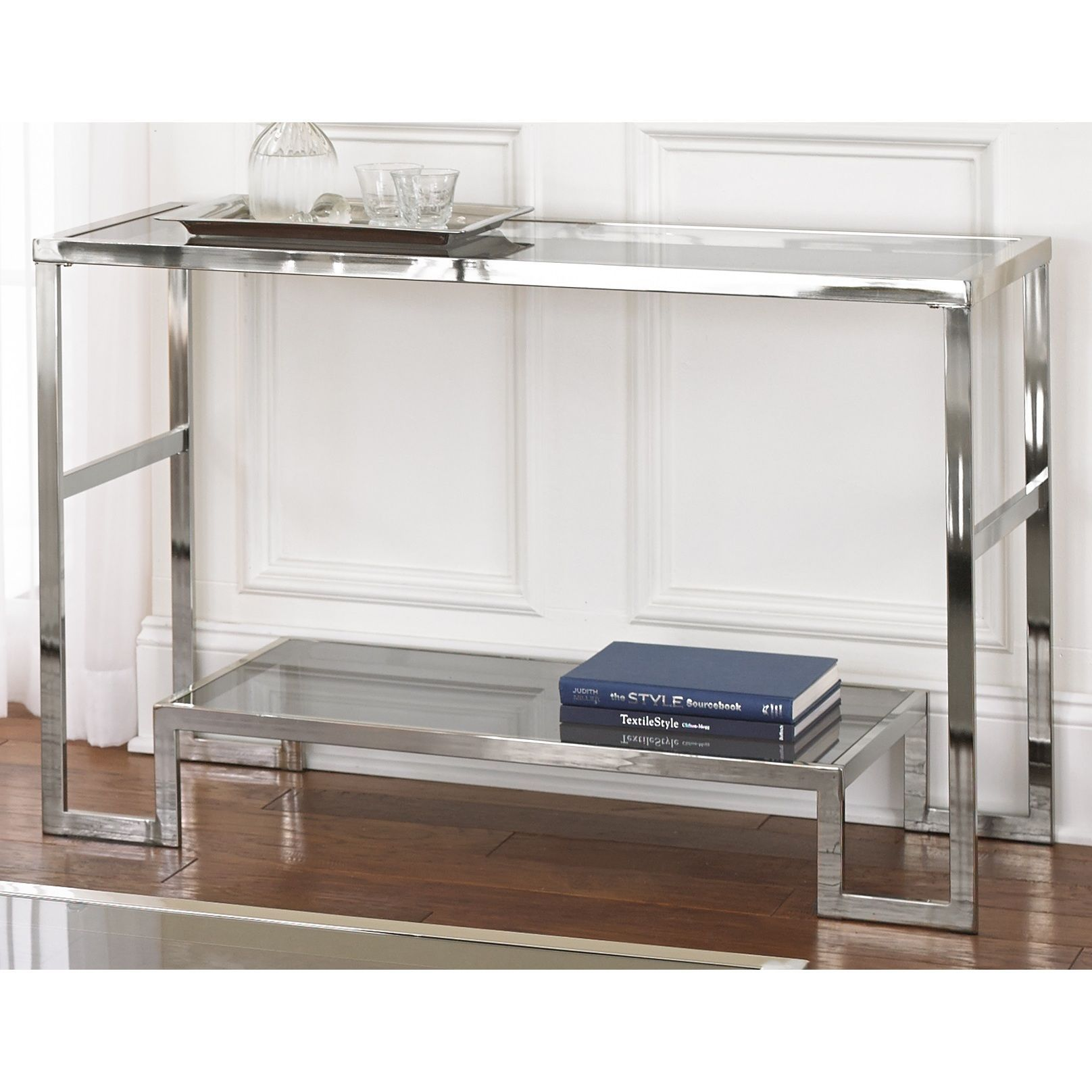 Greyson Living Cordele Chrome And Gl Sofa Table Silver