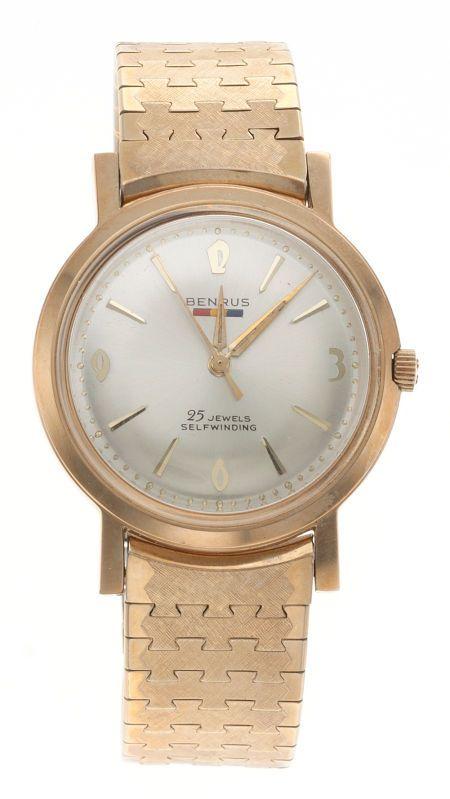 2a40f18334b0 Benrus 25 Jewel Self-Winding Wristwatch Case  gold filled bezel ...