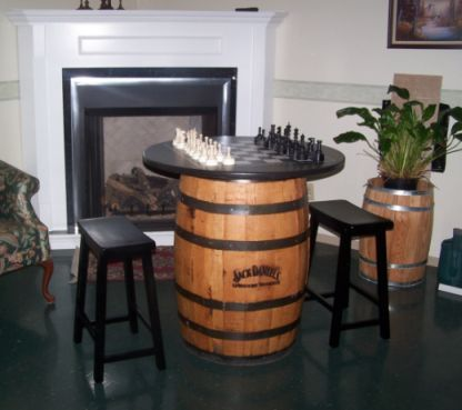 This Item Is A Jack Daniels Branded Barrel, With A Black Table Top With A  Chess Board And A Chess Set Mounted On Authentic Jack Daniels Barrel Bungs.