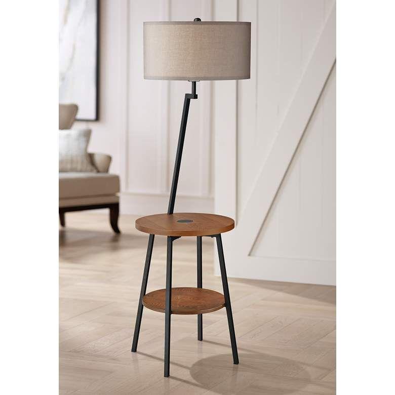 Lemington Black End Table Floor Lamp With Gray Shade 69m79 Lamps Plus Floor Lamp Table Black End Tables Floor Lamp With Shelves