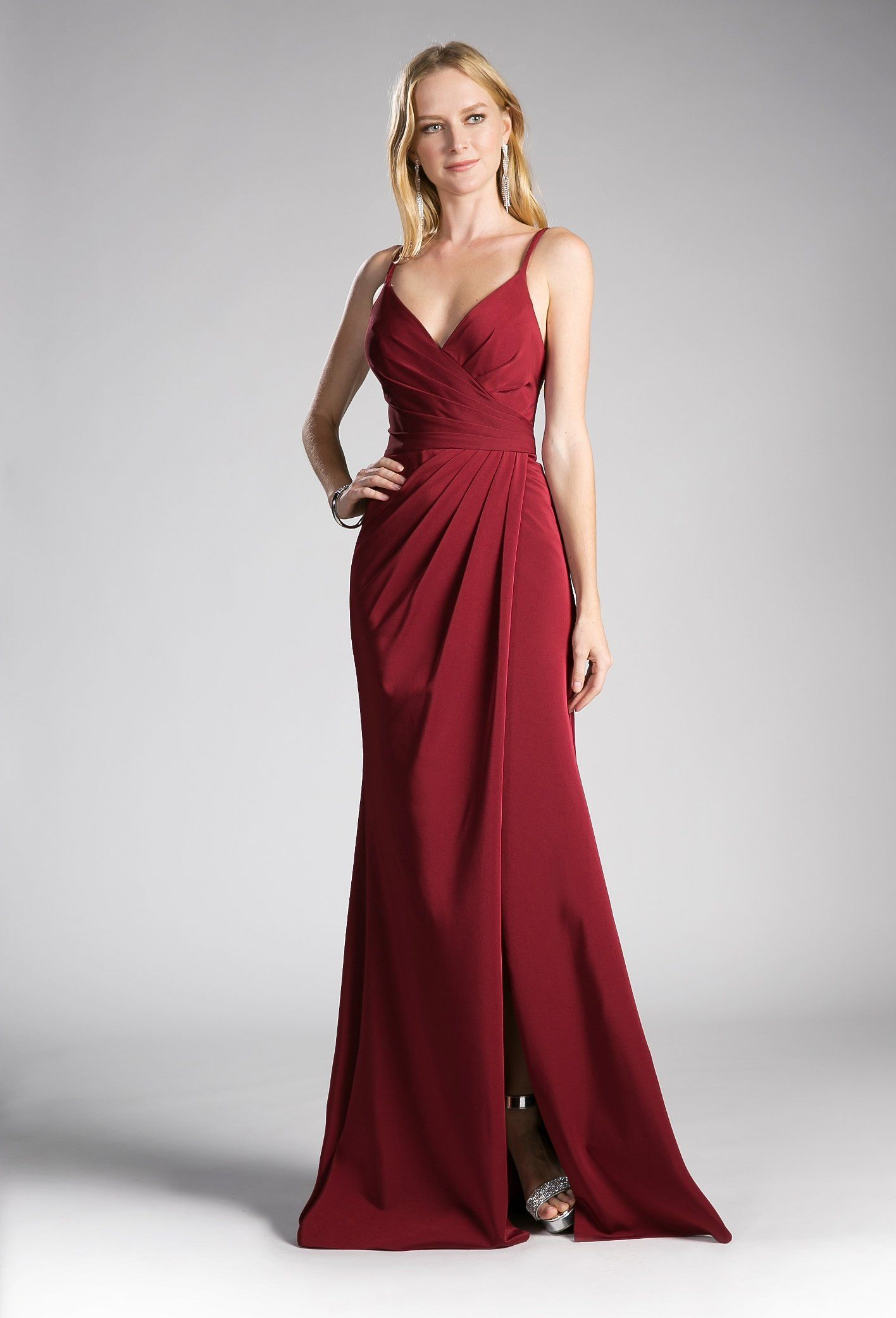 Pleated Long VNeck Dress with Slit by Cinderella Divine KC in