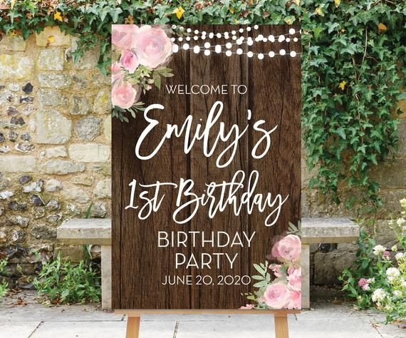 1st Birthday Welcome Sign, Printable Birthday Party Sign, First Birthday Decororations, Pink Flowers, Pink Floral Decor, 1st Sign Abby