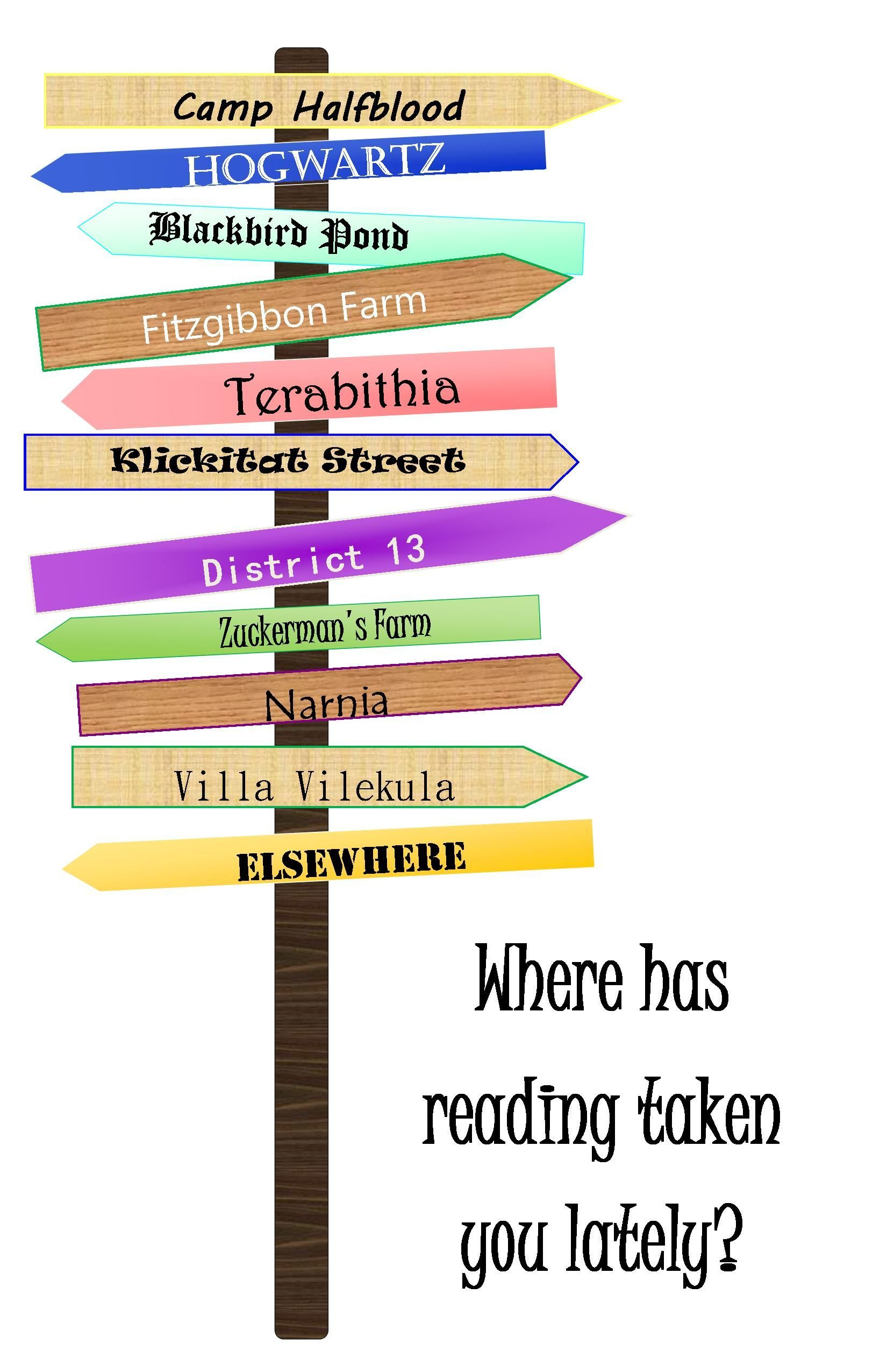 display for classroom door or library. Signs point to famous settings in children's literature.Great display for classroom door or library. Signs point to famous settings in children's literature.