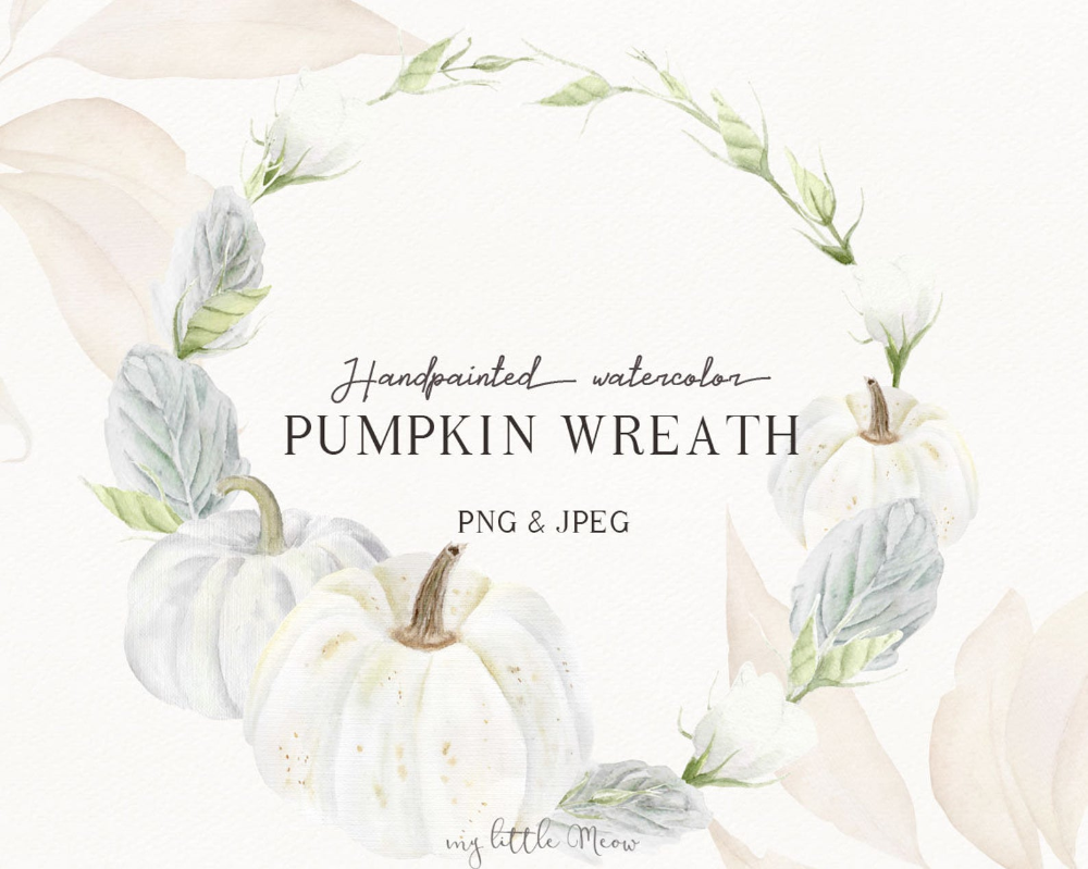 White pumpkin thanksgiving wreath clip art autumn wedding ...