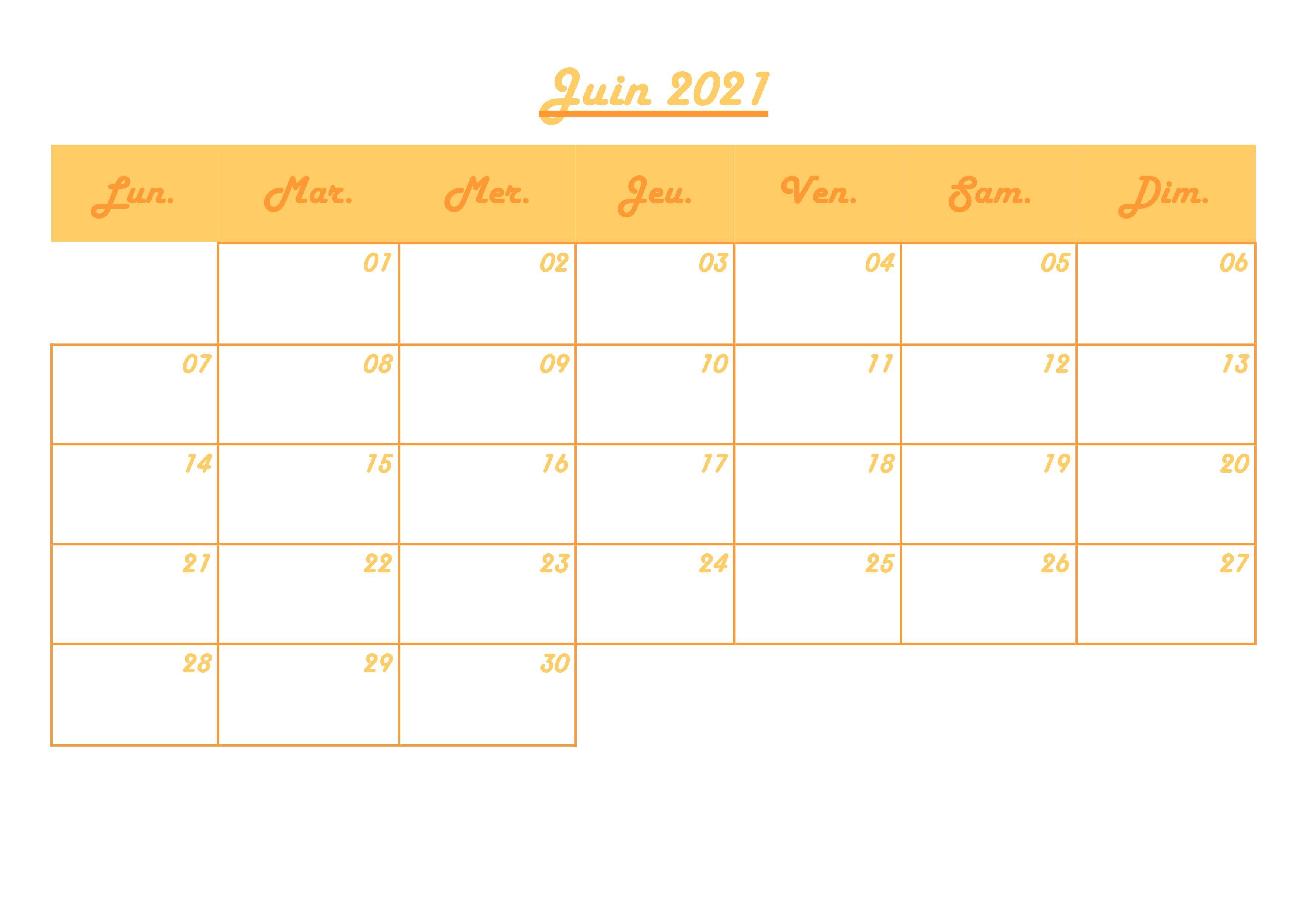 Calendrier mensuel juin 2021 en 2020 | Calendrier mensuel