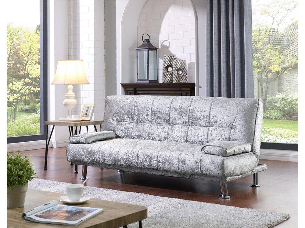 Brand New Designer Crushed Velvet Fabric 3-Seat Sofa Bed ...