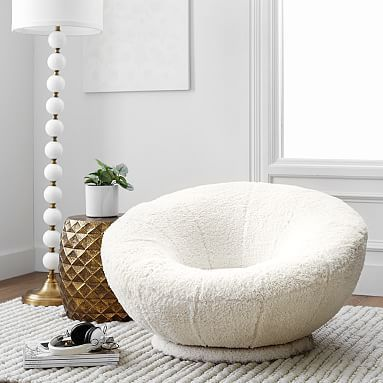 Sherpa Ivory Faux Fur Groovy Swivel Chair Upholstered