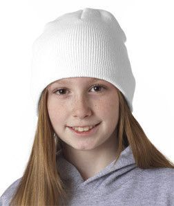 8131 UltraClub Knit Beanie White