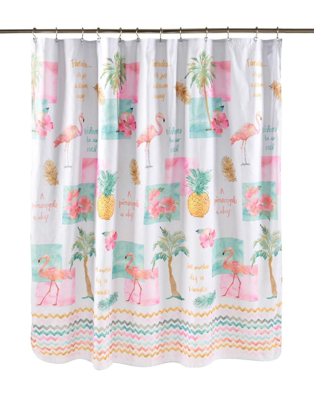 Flamingo Fever Fabric Shower Curtain Fabric Shower Curtains