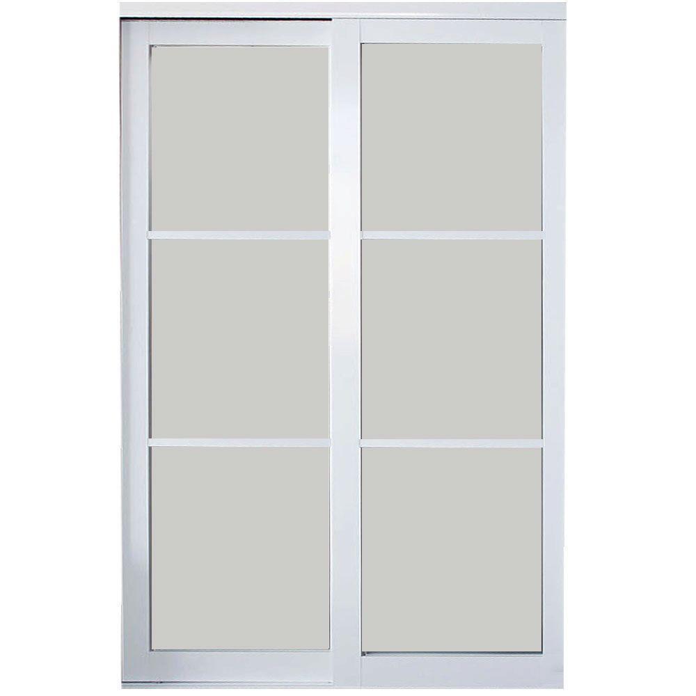 Contractors Wardrobe 84 In X 81 In Eclipse 3 Lite Mystique Glass White Finish Aluminum Interior Sli Sliding Doors Interior Contractors Wardrobe Sliding Doors