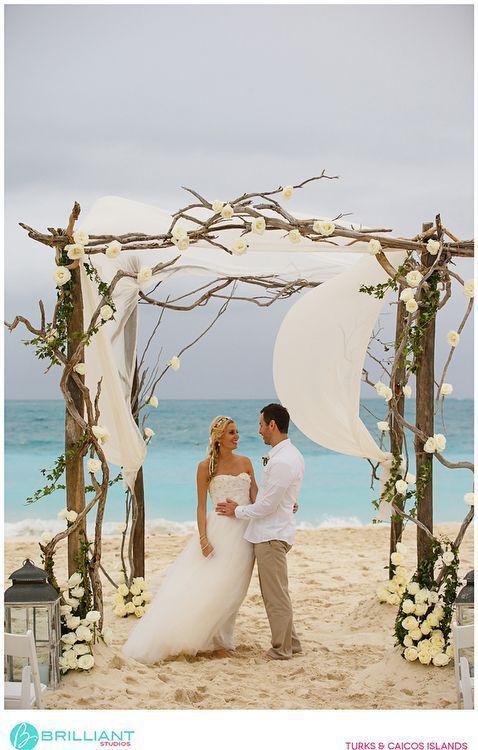 Rustic Driftwood Style Beach Wedding Arch In The Caribbean Dream