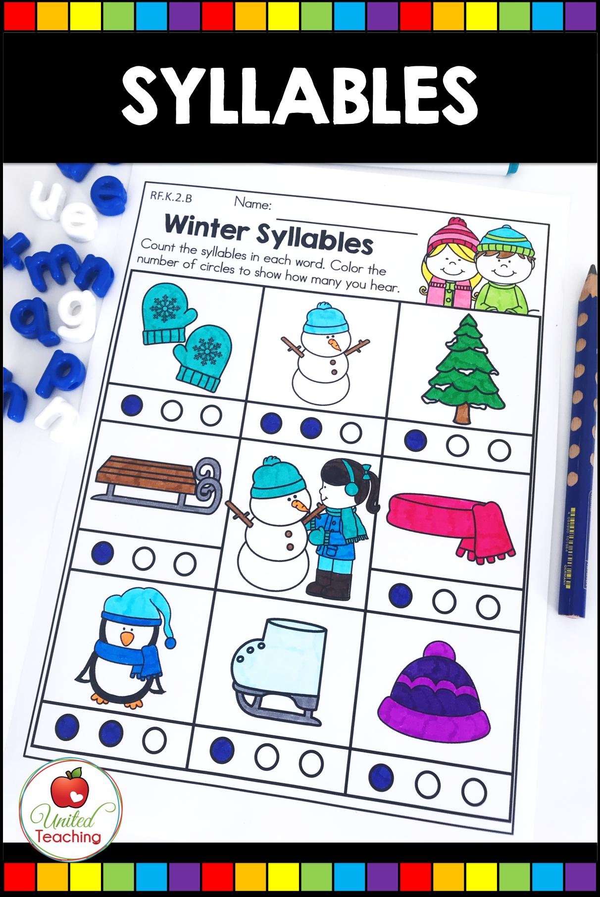 Winter Math And Literacy Kindergarten No Prep Activities Kindergarten Activities Winter Math Phonemic Awareness Activities [ 1812 x 1212 Pixel ]