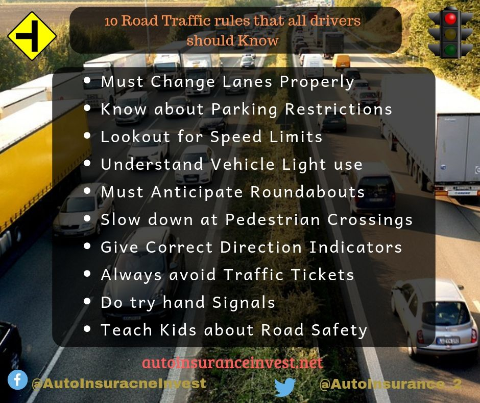 10 road traffic rules that all drivers should be aware of