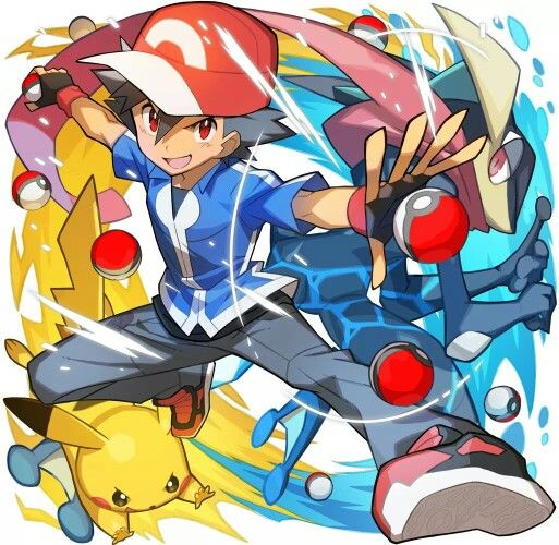 Ash Ketchum with his Pikachu and his Greninja ^.^ ♡ I give good credit to whoever made this