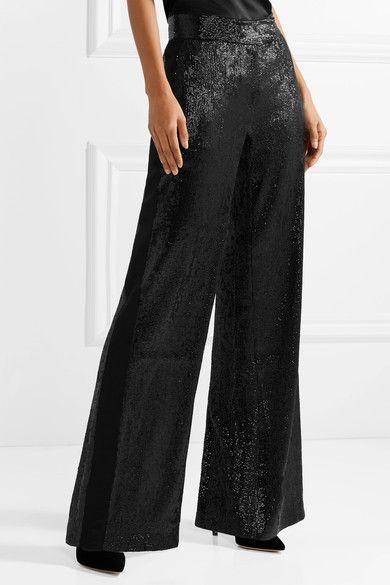 Rachel lentejuelas tul Zoe pierna ancha pantalones negros de Maida de con BUzBr1