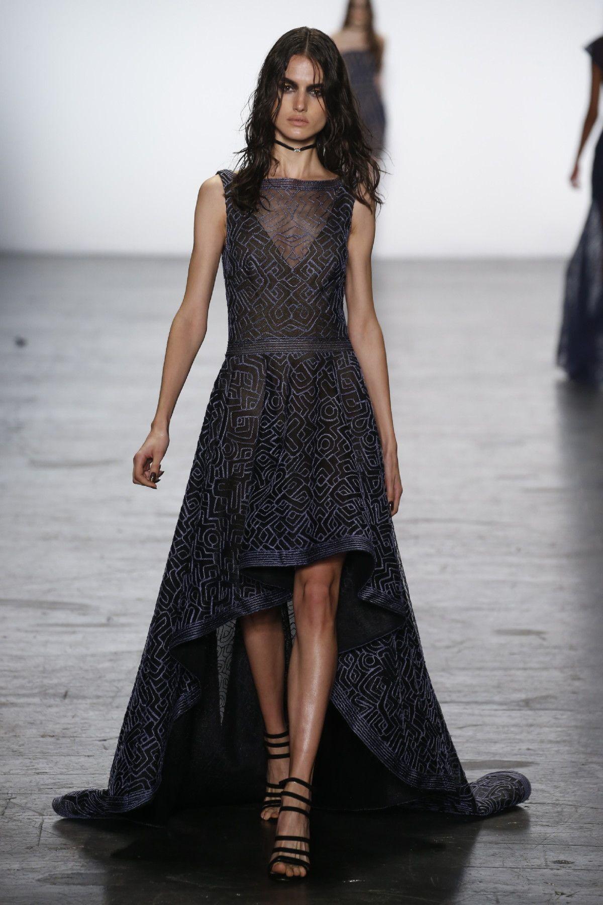 Lace button up wedding dress november 2018 Tadashi Shoji NYFW FW   FashionPaletteBlack  Pinterest