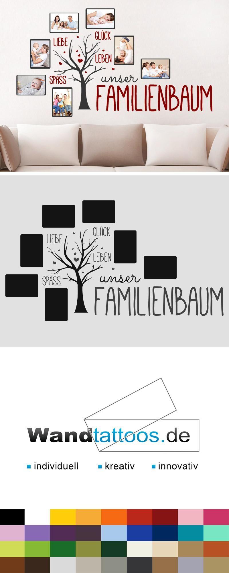 Wandtattoo Unser Familienbaum mit 7 Fotorahmen | Pinterest ...