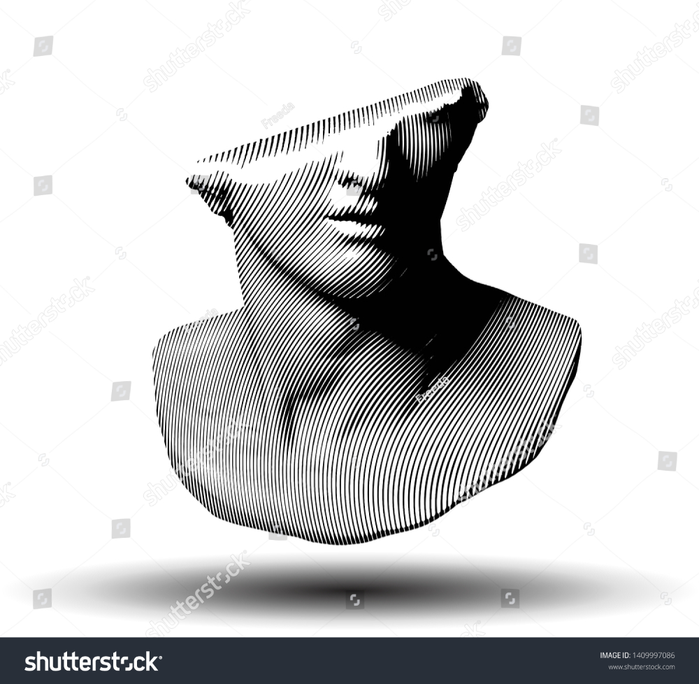 Vector Curved Line Halftone Fragment Of Colossal Head Sculpture Of Classical Style From 3d Rendering Isolated On White Background Halftone Vector Vector Images