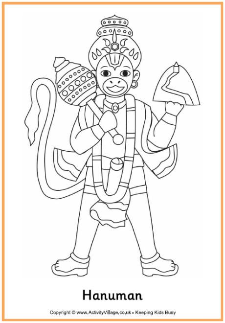 Hanuman colouring page 2 India Pinterest Hanuman and Outlines