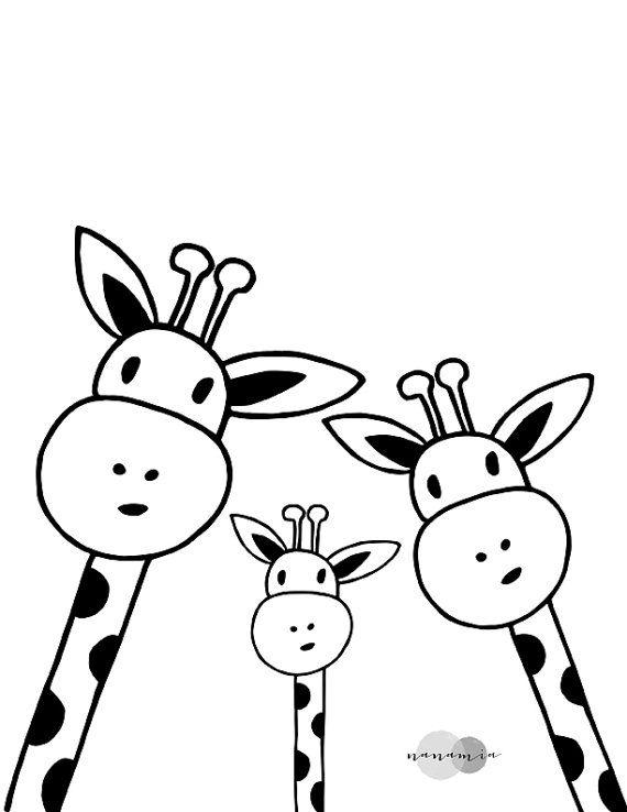 Famille Giraffe Selfie Print, Nursery Printable, Black and White Art, Scandinavian Print, Downloadable Art